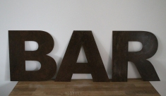 Rusty Metal letters - £30.00 to hire.