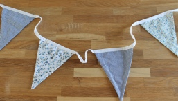 £15.00 per 15m - Blue gingham and mixed ditsy flower printed fabric bunting - double ply and fully finished