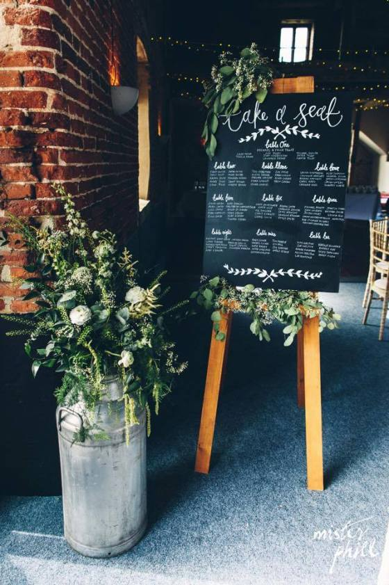 Table plan and milk churn hire by TLLCo.