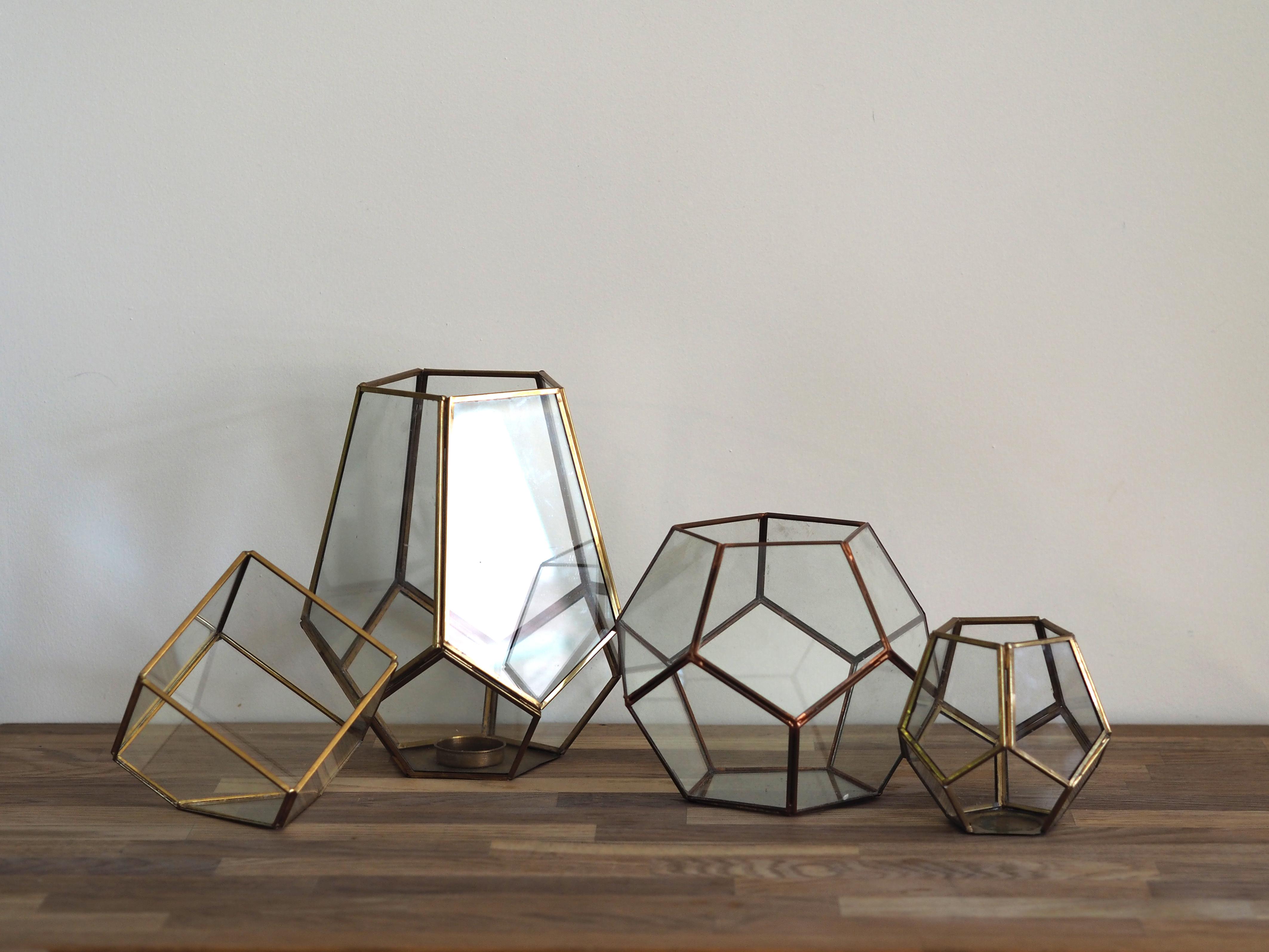 geo glass lanterns